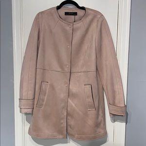 Zara Basics Pink Faux Suede Coat Size Large